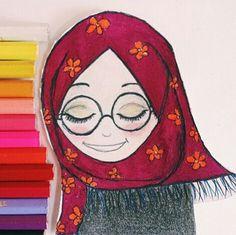 G.k Cartoon Kunst, Cartoon Art, Islamic Cartoon, Hijab Cartoon, Fashion Collage, Drawing Lessons, Knitted Gloves, Beautiful Moments, Fabric Painting