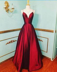 5315ce42f0 2019 burgundy satin V neck long prom dress