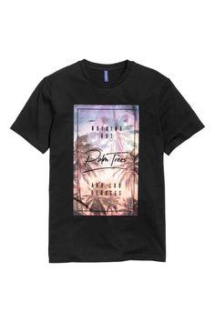 T-shirt with a print motif - Black/Palms - Men Sale Uk, Streetwear, Mens Fashion, Mens Tops, Cotton, T Shirt, Black, Design, Style
