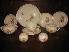 Salt and Pepper Shakers Tea cup and Saucer Creamer Sugar Bowl Platter Plater