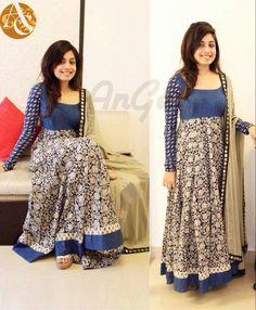 #Anarkali#Kalamkari#Blue Kalamkari Designs, Churidar Designs, Kurti Neck Designs, Kurti Designs Party Wear, Blouse Designs, Indian Dresses, Indian Outfits, Salwar Pattern, Kalamkari Dresses