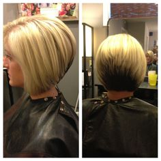 Stacked haircut, highlights, and color block.