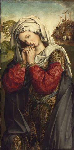 """Painting by Colijn de Coter (1450-5–1522-5, active in Brussels),  ca. 1500, """"The Mourning Mary Magdalene"""", oil on oak."""