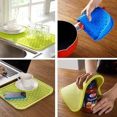 Silicone Holder Mat Kitchen Heat Non slip Heat Resistant Trivet Pot Mat Coaster Cushion Placemat Pot. Click visit to buy