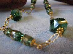 Green Quartz Crystal Necklace by janislogsdongems on Etsy, $30.50