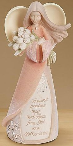 """""""The most precious thing that comes from God is a Mother's love"""" Mother Figurine (Best Mothers Day gift ideas Clay Projects, Clay Crafts, Diy And Crafts, Christmas Gifts For Mom, Christmas Angels, Clay Angel, Ceramic Angels, Polymer Clay Figures, Paperclay"""