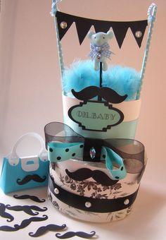 Custom Robin's Egg Blue Little Man Diaper Baby Shower Cake Mustache Newborn Boy #BabyShower #babyshower