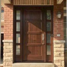 Side Light Entry Doors | Amberwood Doors Inc. Modern Wooden Doors, Wooden Main Door Design, House Main Door, Entry Doors, Front Doors, Double Doors Exterior, Gate Design, New Homes, Front Porches