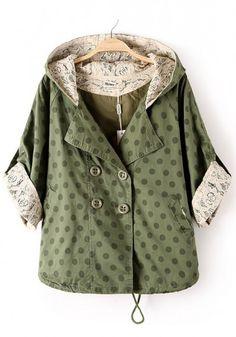 Army Green Polka Dot Drawstring Dacron Trench Coat