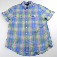 Tommy Hilfiger Short Sleeve Button Down Colorful Plaid Shirt Mens Size XL Cotton #TommyHilfiger #ButtonFront