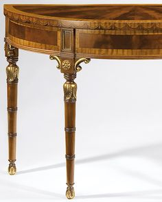 inlaid console table - Adam style demilune console table with mahogany and satinwood veneer, inlaid with pear and maple