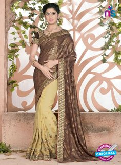 SC 13082 Brown and Yellow Jacquard and Georgette Party Wear Designer Saree #bollywood designer party wear sarees #party wear sarees online #designer party wear sarees online