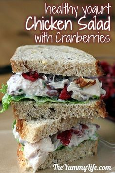 I've made similar chicken salad before and its super yummy! ~A~ Chicken or Turkey Salad with Cranberries & Pecans. A healthy recipe with yogurt. This is DELICIOUS! Think Food, I Love Food, Good Food, Yummy Food, Yummy Lunch, Tasty, Healthy Yogurt, Healthy Snacks, Healthy Recipes