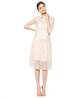 Beige Stand Collar Crocheted Dress