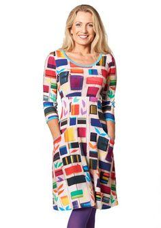 Charles dress SIGNE Multi Colour 1034-19 / ultranice forårskjole i skønne farver og lys blå pippings/kanter