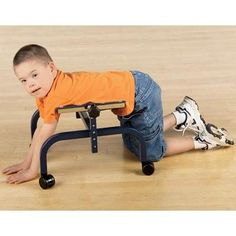 The Skillbuilders Crawler aids elementary crawling when body support is required. Encourages crawling without regard for specific patterns. Height adjusts to 11.5