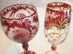 Hey, I found this really awesome Etsy listing at https://www.etsy.com/listing/202530448/vintage-bohemian-czech-glass-goblets