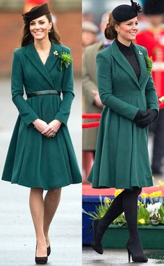 Emilia Wickstead Coat Dress from Kate Middleton's Recycled Looks  Before pregnant Kate wore this green frock in 2013, she looked festive a year before on St. Patrick's Day honoring the Irish Guard.