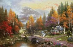 "Thomas Kinkade Valley Of Peace Cross Stitch Pattern***L@@K*** YOUR FINISHED PATTERN SIZE. 360 Stitches x 252 Stitches 20.0"" X 14.0"" ON (18 COUNT) AIDA CLOTH. ~~ I SEND WORLD-WIDE ~~Free"