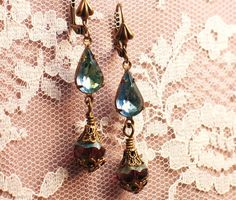 Renewal Earrings - Vintage Sapphire and Peridot Teardrops with Baroque Czech Amethyst - by Lorelei Designs. $27.00, via Etsy.