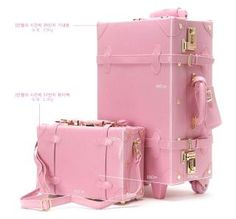 Pink luggage - My Fat Pocket. If only the airlines took care of people's luggage this wouldn't be pink and black at the end of the first trip. Pretty In Pink, Pink Love, Pink And Green, Hot Pink, Pink Pink Pink, Blush Pink, Pink Luggage, Cute Luggage, Vintage Luggage