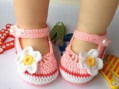 Zapatos de punto/ganchillo - Flor del ganchillo zapatos de bebé ...