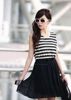 Casual Stripe Pattern Sleeveless and Round Neck Design Cotton Dress For Women (STRIPES) China Wholesale - Sammydress.com