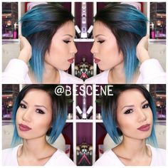 NEONCYAN for @saaammage! Special mixed using @Pravana Vivids and Neons! I also color matched her extensions pics coming soon! #bescene #saaammage