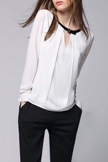 White Jewel Neck Long Sleeve Blouse