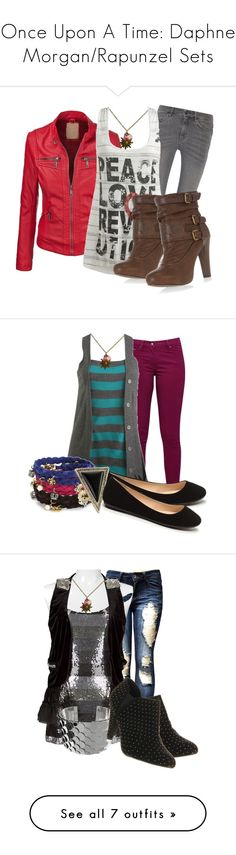 """""""Once Upon A Time: Daphne Morgan/Rapunzel Sets"""" by grandmasfood ❤ liked on Polyvore featuring MiH Jeans, Wet Seal, Dorothy Perkins, Great Plains, Juicy Couture, House of Harlow 1960, BKE Boutique, Office, Steve Madden and Chicwish"""
