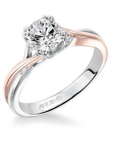 Solitude, Diamond two-tone engagement ring with high polished split shank, twist design and double prong setting. Available in Platinum, 18K and 14K gold. Price listed is an estimate for the setting only. Most settings can be custom made to fit different size or shape center stone.