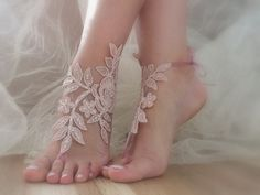 pink barefoot sandals, with pearls lace sandals bridal lace anklet Beach wedding barefoot sandals,