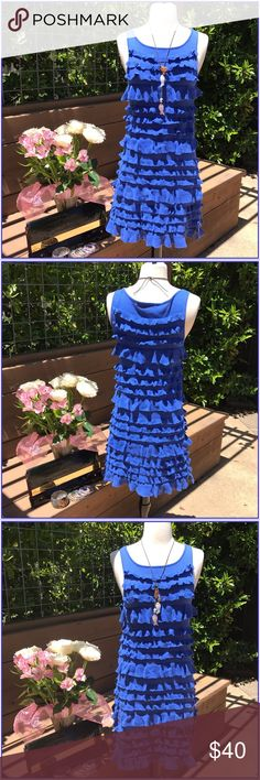 Nicole Miller Electric blue ruffled Nicole Miller!. We all love her, her pieces make you feel amazing. 100%cotton, talk about summer Cinderella!. Rocking everywhere you go. Great condition! Nicole Miller Dresses