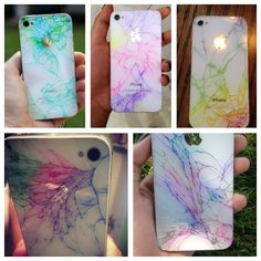 Make a cracked iPhone looks so cute! With just colored markers or sharpies! :D is it bad that this makes me wanna crack my phone?
