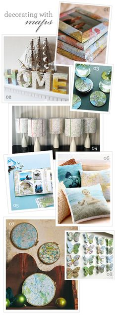 Live, Love and Be Creative: Decorating with Maps Inspiration Boards