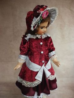 """Beautiful  dress  for antique  French and German dolls 28-30"""""""