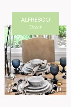 Alfresco Decor. Alfresco tablescape Summer Table Decorations, Tablescapes, Accent Chairs, Posts, Blog, Furniture, Home Decor, Upholstered Chairs, Messages