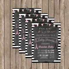 Paris Chalkboard Baby Shower Invitation - Printable - Digital File