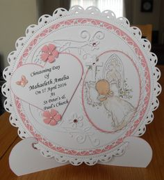 Handmade Christening card for a girl Handmade Christening Cards, Baptism Cards, Christening Invitations, Baby Invitations, First Communion Cards, Baby Girl Christening, Baby Cards, Creative Cards, Newborns