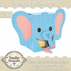 Caixa Elefante Engraçado,  Caixa, Elefante, Engraçado, Funny Elephant Box , Funny, Elephant, Box, projeto 3d, boxes, box, arquivo de recorte, caixa, 3d,svg, dxf, png, Studio Ilustrado, Silhouette, cutting file, cutting, cricut, scan n cut.
