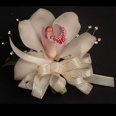 My mother always made sure I had an orchid corsage for all my piano recitals. Homecoming Corsage, Homecoming Dance, Prom, Floral Wedding, Wedding Flowers, Wedding Stuff, Wedding Ideas, Orchid Corsages, Flower Dresses
