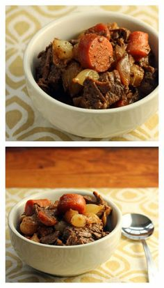 Slow Cooker Honey Sriracha Beef Stew from The Perfect Pantry [via Slow Cooker from Scratch].  I love the use of spicy Sriracha sauce in this stew, plus the other Asian ingredients and dried mushrooms that bump up the flavor; sounds like a great combination. #SlowCooker  #DairyFree  #FreezerFriendly
