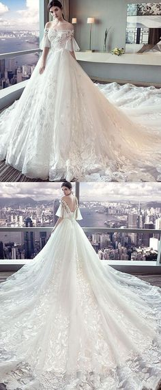 Fantastic Tulle Off-the-shoulder Neckline Ball Gown Wedding Dress With Lace Appliques & Beadings