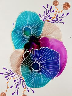 Alcohol ink art with white posca illustrations by JulieMarieDesign.