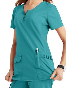 Beyond Scrubs Mia Zip Front Scrub Tops Staff Uniforms, Scrubs Uniform, Neck Stretches, Side Panels, Scrub Tops, Caregiver, Casual Wear, Fun, Cotton