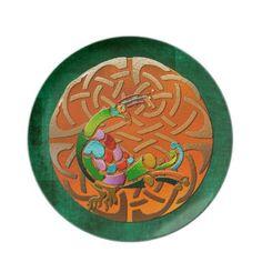 Peacock Celtic Deco Jeweled Dinner Plates