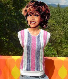 vintage 70s sleeveless sweater tank top pastel by skippyhaha
