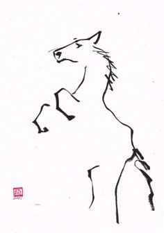 Sumie contemporary original ink painting of a Horse by LilithOhan, $50.00