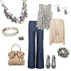 "Ruffle Front Gray Sleeveless Shirt, Drape Front Cardigan, Wide Straight Leg Pants, Silver Ballet Flats, Premier ""Bauble On"" Jewelry"