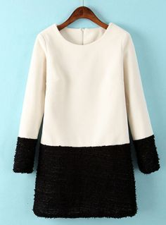 White Contrast Black Long Sleeve Straight Dress EUR€24.61